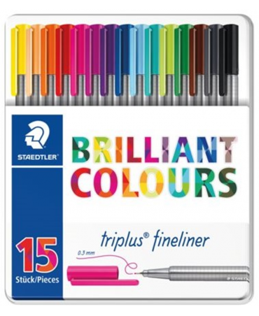 Staedtler Triplus Fineliner Metal Case Brilliant Color Design With 15 Assorted Pens