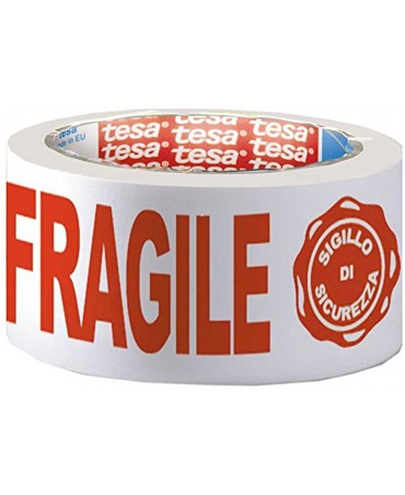 Tesa Nastro Adesivo Ppl 66mtx50mm Fragile Con Sigillo Sicurezza 7024