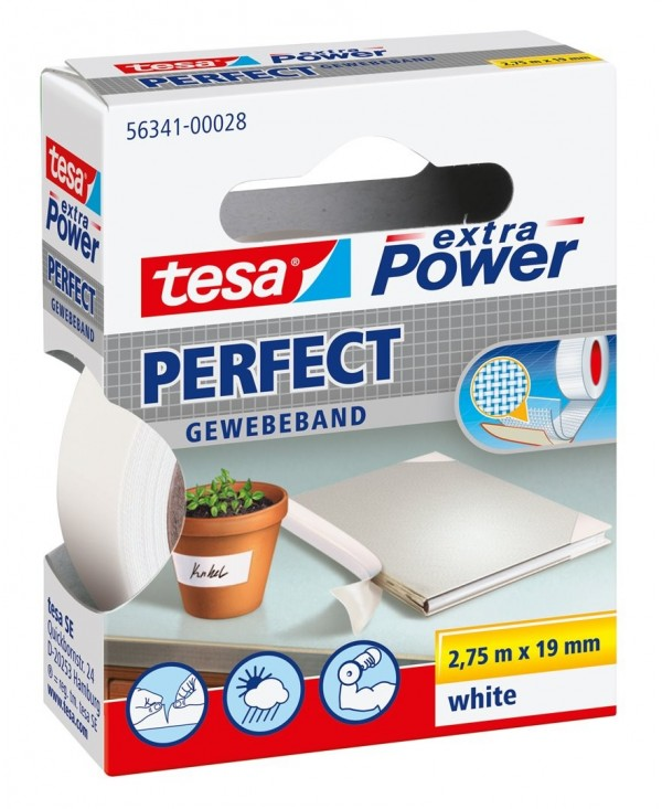 Tesa 19mmx2 Fabric Adhesive Tape, 7mt 56341 White Xp Perfect