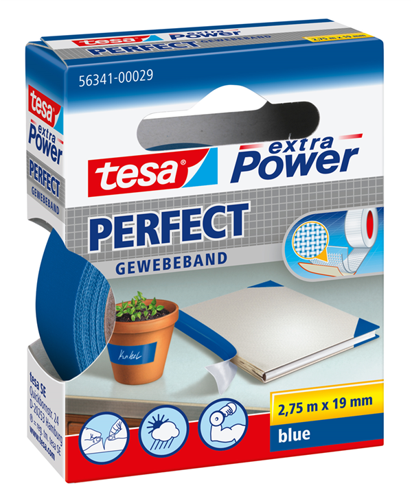 Tesa Fabric Adhesive Tape 19mmx2, Cat5e 7mt Blue 56341 Xp Perfect