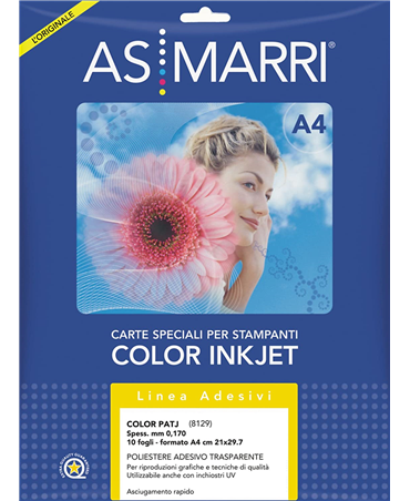 As/marri Adhesive Polyester A4 10 Fg. Color Transparent Permanent Patj 8129