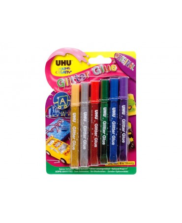 Uhu - Glitter Glue Original - Colla Colorata Con Brillantini A Penna