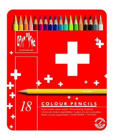Caran D'Ache 18 Pieces Swisscolor Pencils In Metal Box