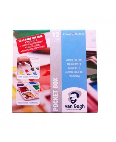 Van Gogh Pack Of 12 Watercolors + 3 Pocket Box + Brush # 6